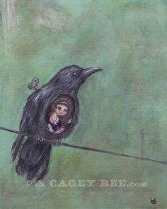 As the Crow Flies art print - bird painting 8x10 bird print. $18.00, via Etsy.  www.acageybee.com