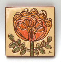 ceramic art tile folk art flower