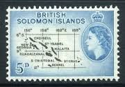 """Solomon Islands. This South Pacific Island group to the east of New Guinea was a battleground in the Second World War. This elegant stamp map of the colony of the then """"British Solomon Islands"""" was issued at the start of Queen Elizabeth's reign in the the 1950's. The islands gained independence in 1976."""