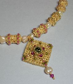 Renaissance Beadwoven Necklace with Swarovski by PeregrineBeader