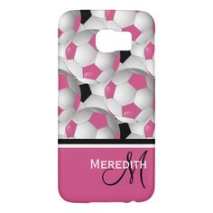 Monogram Pink Black Soccer Ball Pattern Samsung Galaxy S6 Cases. An eye-catching and stylish football soccer ball design featuring a pattern of black and white and pink and white soccer balls with accents in coordinating pink, black and white with your monogram initials and name. Ideal for the soccer girl or soccer Mom.