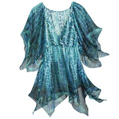 Aquamarine Tunic Top - New Age, Spiritual Gifts, Yoga, Wicca, Gothic, Reiki, Celtic, Crystal, Tarot at Pyramid Collection