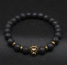 Gold Plated Lion Head Black Lave Stone Beaded Bracelet
