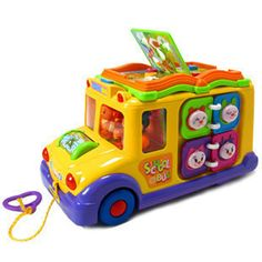 free shipping,Electric school bus, children music car including 8 games, car horn songs animal calls, early educational toys $29.00