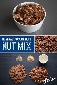 Feel content knowing exactly what's in your snack by making this Homemade Savory Herb Nut Mix! Toast FISHER Non-GMO Project verified almonds and pecans, then toss with dried rosemary, garlic powder and enough olive oil to coat for a super-easy snack idea you can make anytime. Nut Recipes, Snacks Recipes, Healthy Recipes, How To Dry Rosemary, Jj Smith Diet, Green Smoothie Cleanse, Savory Herb, Spiced Nuts