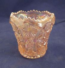 Vintage Imperial Pink Opalescent Carnival Glass Toothpick Holder