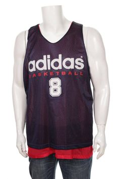 789b5f29d9d Adidas Top Tank Reversible Jersey Big Logo Spell Out Hip Hop STyle Navy  Blue/Red Size XL