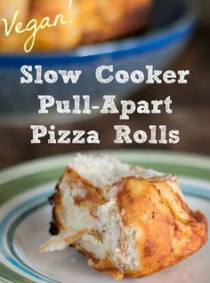 Slow Cooker Pull-Apart Pizza Rolls that are vegan too! These are great to make in the summer when you don't want to heat up your house and over the holidays when there's no extra room in your oven!!