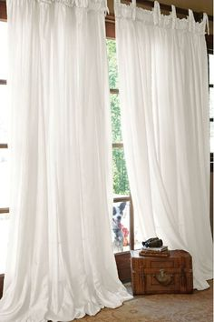 New shabby chic living room curtains window treatments master bedrooms ideas Long Curtains, Curtains Living, White Curtains, Country Curtains, Window Drapes, Window Art, Diy Curtains, Window Ideas, Window Coverings