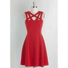 Darling of the Dance-a-thon Dress in Scarlet ❤ liked on Polyvore featuring dresses, red flared dress, criss-cross dress, flared dress, cut out dress and cutout dress