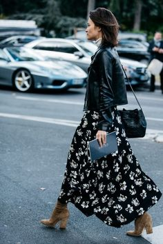 Moto Jacket + Turtleneck + Floral Skirt + Suede Booties