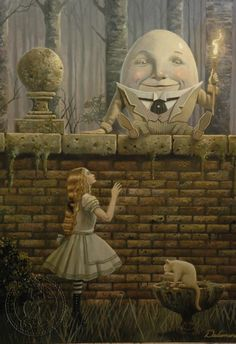 "David Delamare, ""Humpty Dumpty"", ""Alice in Wonderland"" illustration Lewis Carroll, Fantasy Kunst, Fantasy Art, Art And Illustration, Book Illustrations, Chesire Cat, Humpty Dumpty, Fairytale Art, Adventures In Wonderland"