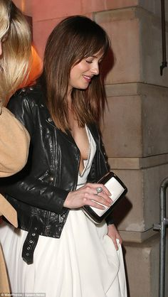 Dakota Johnson looking stunning at the Fifty Shades of Grey London premiere http://www.letsgetweddy.com http://www.dailymail.co.uk/tvshowbiz/article-2951957/Dakota-Johnson-adds-rock-chic-egde-Fifty-Shades-party-London.html