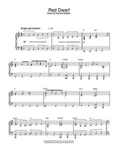 Howard Goodall Theme from Red Dwarf Sheet Music Notes, Chords Sheet Music Pdf, Sheet Music Notes, Piano Sheet Music, Digital Sheet Music, Red Dwarf, Tv Themes, Music For You, Guitar Lessons, Cello