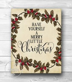 Merry Little Christmas Art Print Vintage Style by SpoonLily, $5.00