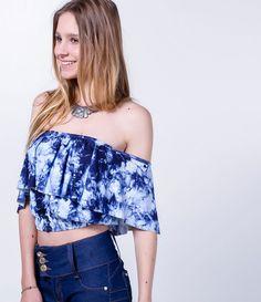 Blusa feminina Modelo tomara que caia Estampa tie dye Com babado Marca: Blue Steel Tecido: viscolycra Composição: 96% viscose e 4% elastano Modelo veste tamanho: P COLEÇÃO VERÃO 2016 Veja outras opções de blusas femininas.