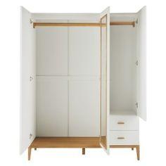 TATSUMA White 3 door wardrobe with mirror