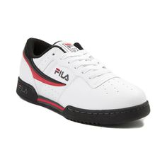 Fila | Men's Original Fitness Athletic Shoe | White/Black/Red | $5999 USD | Stay true to the Original Fitness shoe in this throwback classic from Fila. The Fila Original Fitness Athletic Shoe boasts retro, low top construction, complete with a breathable leather upper, padded EVA midsole, and durable rubber outsole for all day traction. | journeys.com Fila Original Fitness, Workout Shoes, Leather Sneakers, Stay True, Red Leather, The Originals, Athletic Shoes, Black, Target