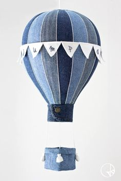 Hot air balloon with basket and little flags by Jo handmade design