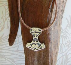 Colgante de plata de Thor martillo con cara