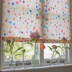 Dorothy was a joint design effort between Melanie Darwin and Laura Fletcher, who each contributed various hand-painted dots until they were happy with the balance and colour of the design. It's a perfect bathroom, kitchen or child's window blind. Available at www.newhousetextiles.co.uk
