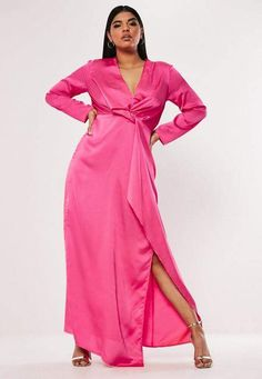 cc6ae4c69e Missguided Plus Size Pink Satin Thigh Split Maxi Dress