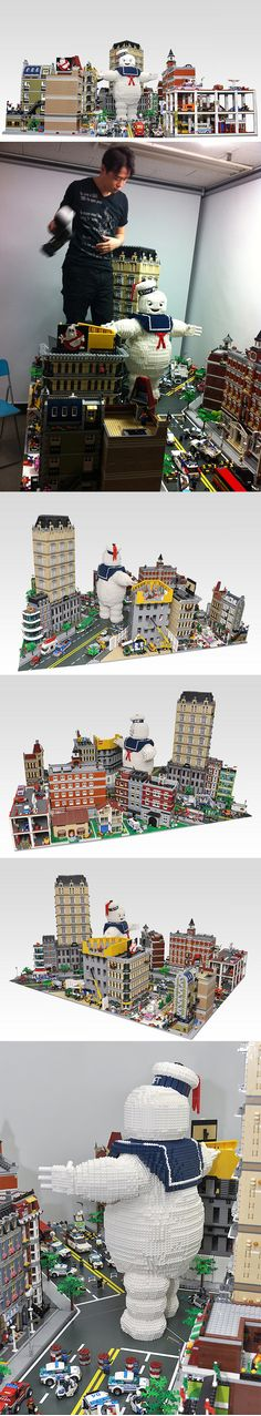 Enormous LEGO Stay Puft Marshmallow Man Takes Down New York City If you're going to build a massive diorama of a set from Ghostbusters, a gigantic Stay Puft Marshmallow Man is a must. Building team OliveSeon created a version of the character that looks to be at least two feet tall. It towers over a street scene and looks like it's ready to attack New York City Godzilla-style. I can't even begin to guess how many bricks were used in this build or how long it took to construct everything…