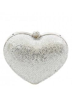 KoKo Silver Sequin Embellished Heart Clutch