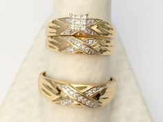 His Her Men Womens Diamond Rings Set Wedding Bridal Band 10k Yellow Gold Trio #br925silverczjewelry