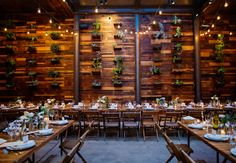 Brooklyn Wineries hanging succulent wall as the backdrop to your wedding dinner.