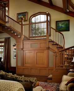 living room staircase and hidden TV - Hooked on Houses. Craftsman Trim