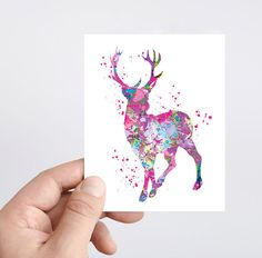 Deer watercolor painting ACEO watercolor print Deer card Note card Art card Christmas card Greeting Card holiday postcard Stag art giclee