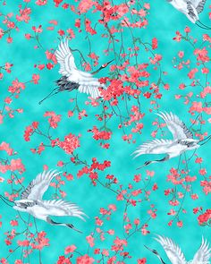 Michiko - Tsuru in Spring - Turquoise. Fabric from eQuilter.com
