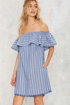 Tulum Off-the-Shoulder Mini Dress - Best Sellers | Back In Stock | Day | Dresses | Stripes | Off The Shoulder