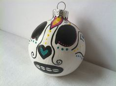 Day of the Dead sugar skull ornament Halloween Dia by GingerPots, $14.00
