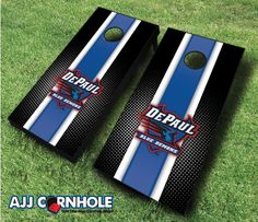 Officially Licensed DePaul Cornhole Set. Show off your Blue Demon pride at your next cookout or tailgate with our signature striped design! www.ajjcornhole.com