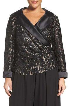 Alex Evenings Satin Collar Sequin Lace Blouse Plus Size Women