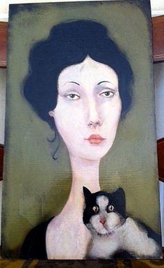 Cassandra Barney - Ellie and Her Cat Original Oil Painting (http://www.hiddenridgegallery.com/store/cassandra-barney/ellie-and-her-cat.html)