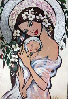 Irene King    Mother and Child 2 mixed media