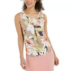 Blusa sin mangas NINE west Sleeveless Blouse, Floral Prints, Clothes For Women, Pretty, Sleeves, Shopping, Tops, Presentation, Style