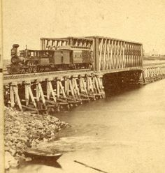 c1870 NEWMARKET New Hampshire *RAILROAD LOCOMOTIVE @ DOVER POINT* by OH COPELAND   Superb c1870 albumen stereoview of  steam train at Dover Point ,New Hampshire taken by O.H.Copeland  of Newmarket,NH . Amazing scene of the diamond stack steam locomotive on the new bridge. Rare NH maker.  SOLD $95.00 on 2/19/2015