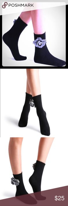 "Embellished Camellia crew socks Black Camellia Embellished Plain Crew Sock Length: 12"" Pattkin Accessories Hosiery & Socks"