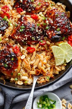 One Skillet Thai Chicken Thighs + Noodles! A sticky, Thai inspired chicken recipe served with Thai Rice noodles, cooked in one skillet!
