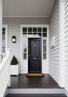 Grey Exterior Paint Colour Schemes Luxury Light Grey Siding White Trim Around Windows and Front Door Gray House Exterior, Paint Colors For Home, Weatherboard House, House Paint Exterior, Door Color, House Painting, New Homes, House, House Front