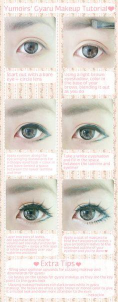Japanese Gyaru style eye makeup tutorial
