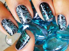 silver stamped glitter dark blue nails