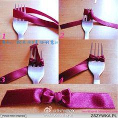 kleine strikjes maken mbv een vork