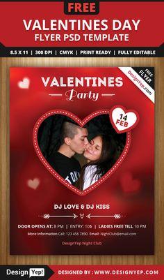 valentine's day flyer psd free