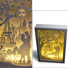 Silhouette Love Paris paper cut Light box Night by trysogodar