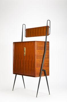Silvio Cavatorta; Mahogany, Birch, Brass & Enameled Metal Highboard, 1950s